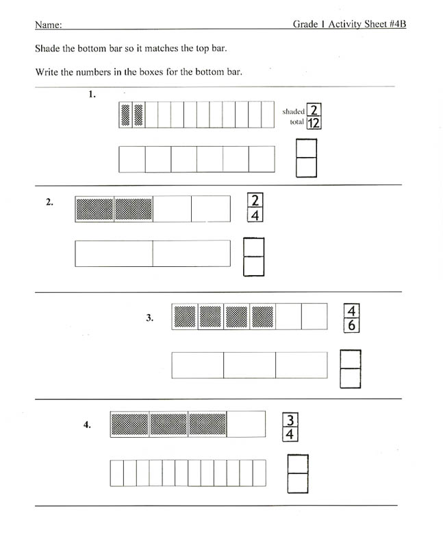 Fraction Bars Sample Worksheets Equality – Fraction Strips Worksheets