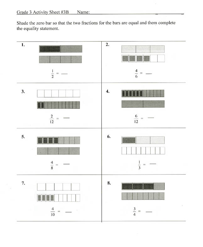 Fraction model worksheets