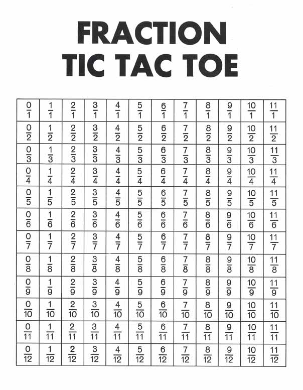 Fraction Bars Tic Tac Toe Free Mat