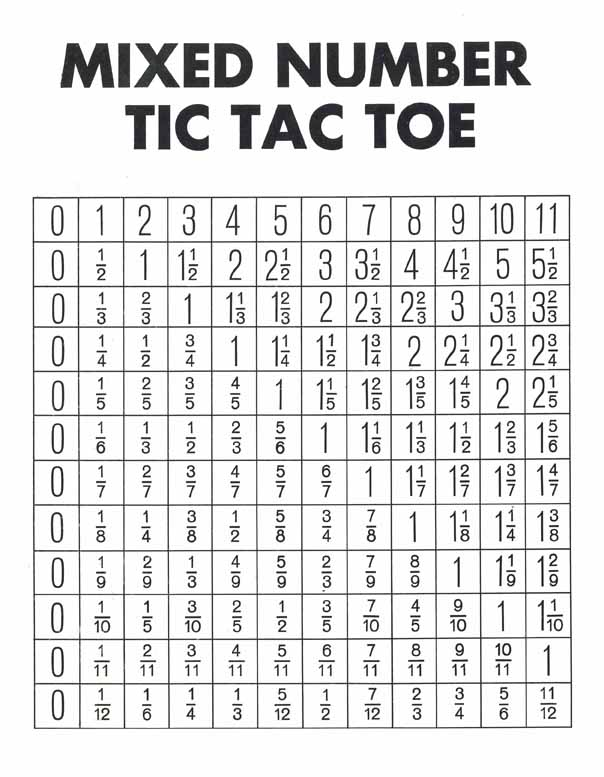 Fraction Bars Mixed Numbers Tic Tac Toe Free Mat